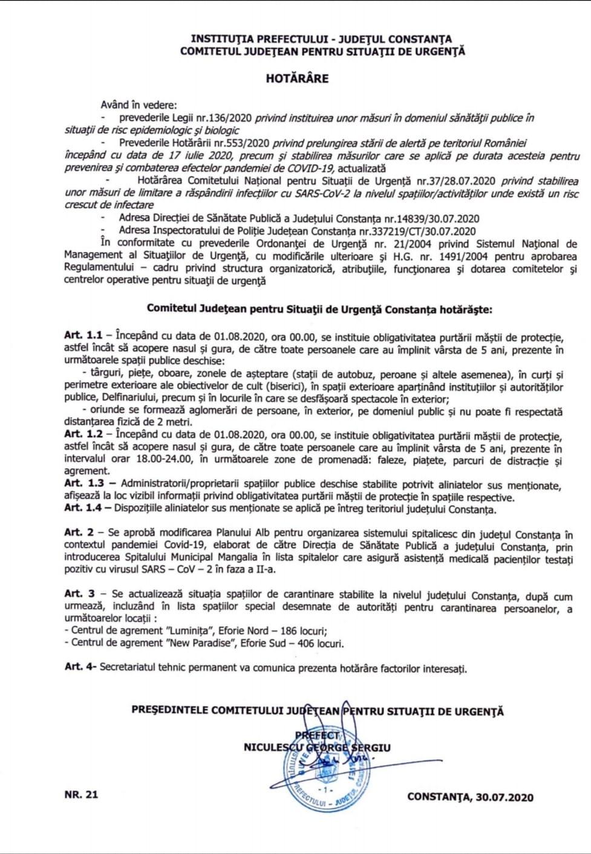 Atenție turiști. În Constanța, de la 1 august, masca este obligatorie între orele 18-24 în zonele de promenadă (vezi document)